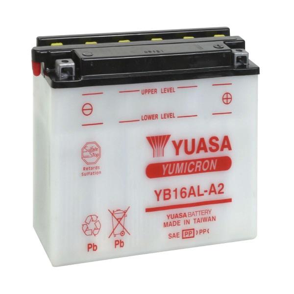 Мото аккумулятор АКБ YUASA (Юаса) YB16AL-A2 с электролитом 16Ач о.п.