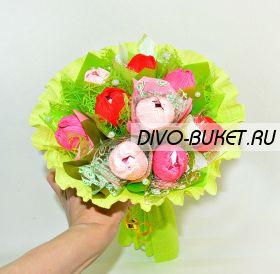 """Букет с конфетами и тюльпанами №634 """"Росинка"""""""