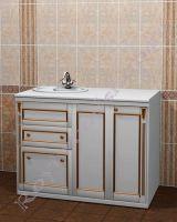 """Тумба для ванной """"Руссильон PROVENCE-120 белое золото"""". Расположение раковины слева."""