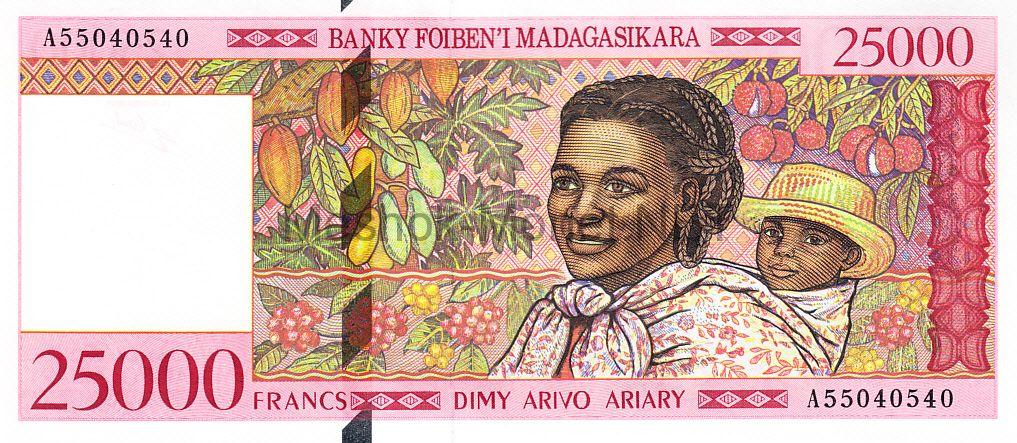 Банкнота Мадагаскар 25000 франков 1998 год Серия А