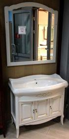 Комплект мебели для ванной Opadiris Лоренцо 100 белый с бежевой патиной