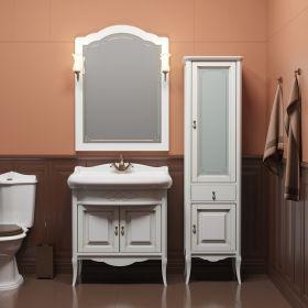 Комплект мебели для ванной Opadiris Лоренцо 80 белый с бежевой патиной