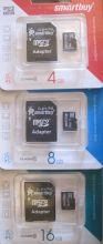 Карта памяти MicroSDHC 4GB Smart Buy class 4 с адаптером SD