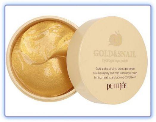 Патчи для глаз с муцином улитки и коллоидным золотом Petitfee Hydro Gel Eye Patch Gold & Snail