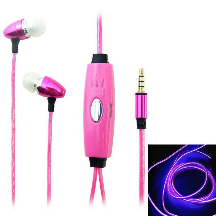 Светящиеся наушники EL Flowing Light (цвет:розовый)