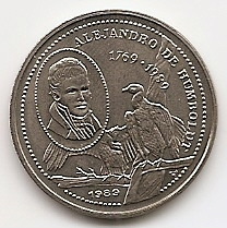 Александр фон Гумбольдт.Гриф.25 сентаво Куба 1989