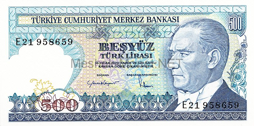 Банкнота Турция 500 лир 1970 (1983) год
