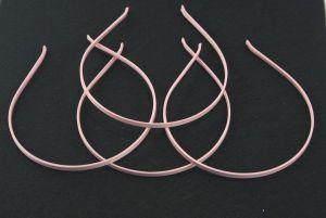 Ободок металл обтянутый тканью 5 мм, цвет: светло-розовый (1уп = 12шт), Арт. ОБ0028