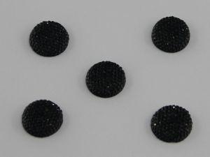 Кабошон круглый, акрил, блестящий, 14 мм, цвет №02 черный(1уп=100шт)