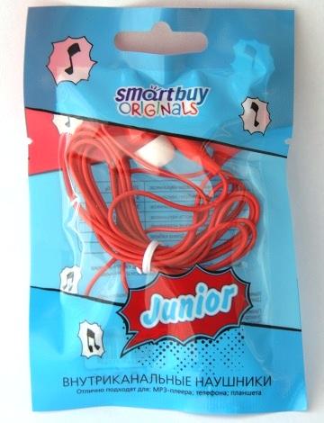 Наушники вакуумные Smartbuy JUNIOR, красные (SBE-540) (в пакетике)