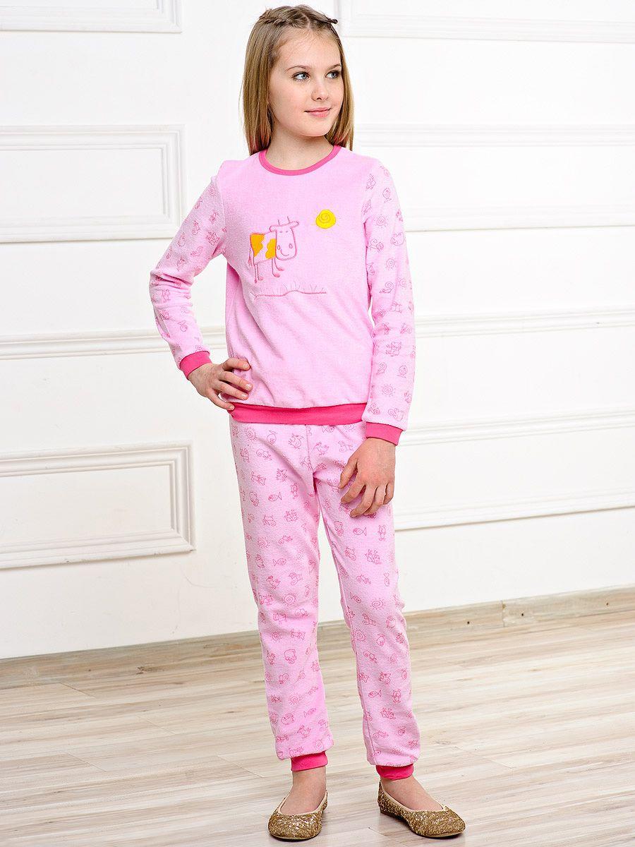 de844e518139 Теплая пижама для девочки с зайчиками, трикотажные детские пижамы из ...