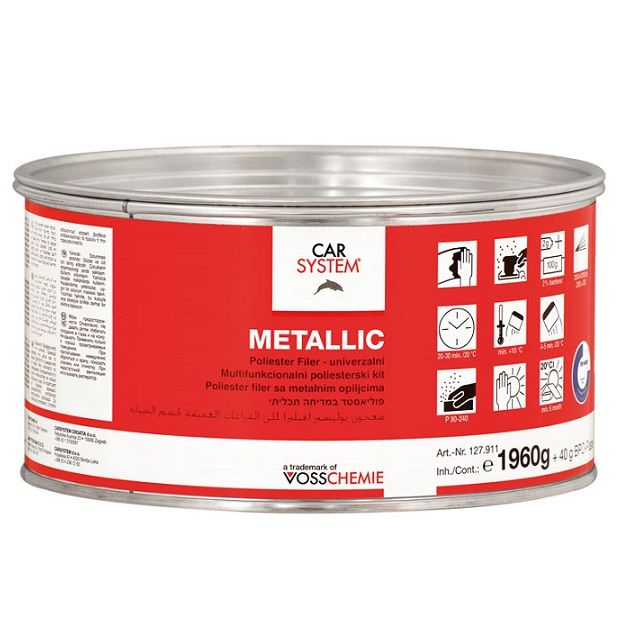 """Carsystem """"Metallic"""" Полиэфирная двухкомпонентная шпатлевка с алюминиевым наполнителем, 2кг."""