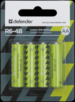 Батарейка солевая R6-4B AA, в блистере 4 шт