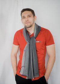 тонкорунный широкий  шарф 100% шерсть мериноса,  расцветка Спортс Серый  SPORTS STRIPE GREY,  плотность 3