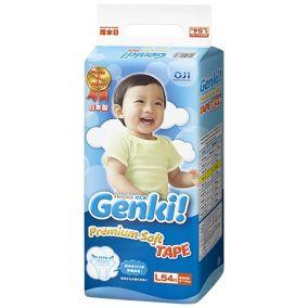 [Новая коллекция сентябрь 2016] GENKI Подгузники для мальчиков и девочек L (9-14 кг) 54шт