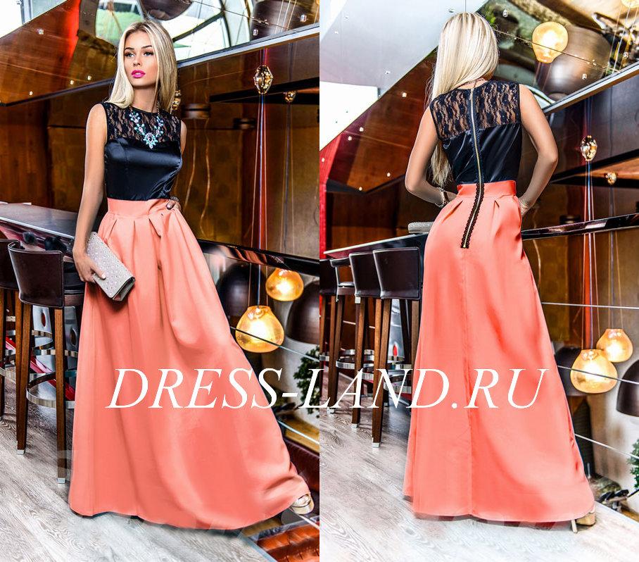 9b73349520e1d05 Черно-коралловое платье в пол с атласным лифом