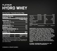 Optimum Nutrition Platinum HydroWhey 3.5 lb состав