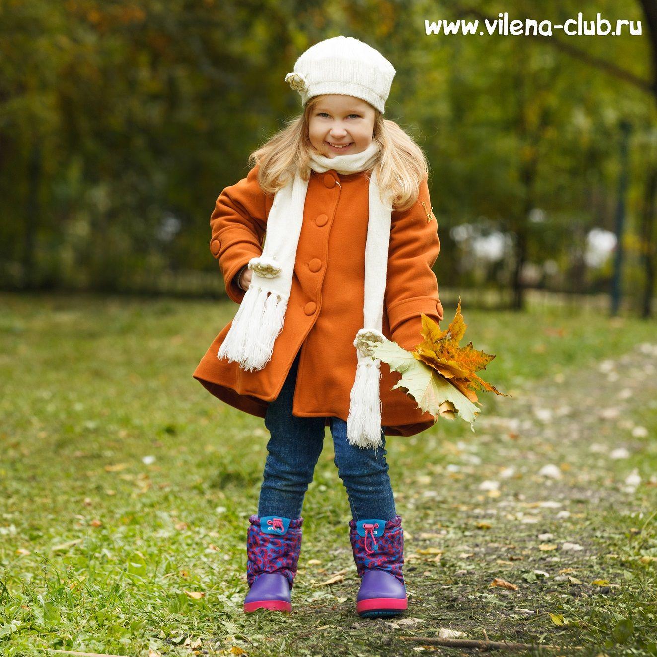Пальто для девочки  + берет, шарф и перчатки