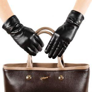 Перчатки женские 29К_40053_10_П; кожа; черный (Размер 7)