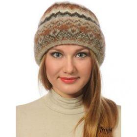 Шапка женская вязаная из Исландской шерсти 28214-47