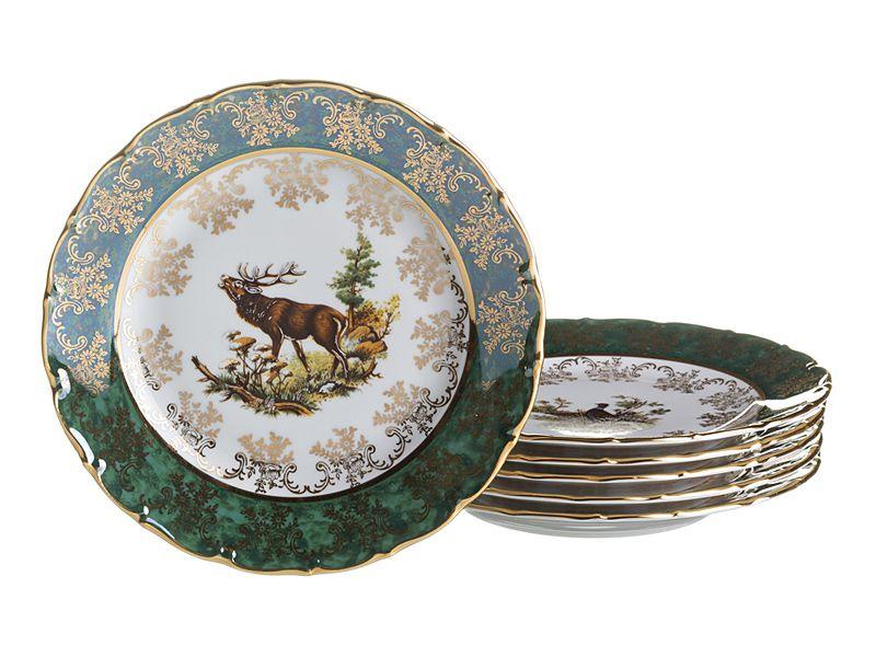 "Набор тарелок ""Зеленая Охота"", 21 см, 6 шт."