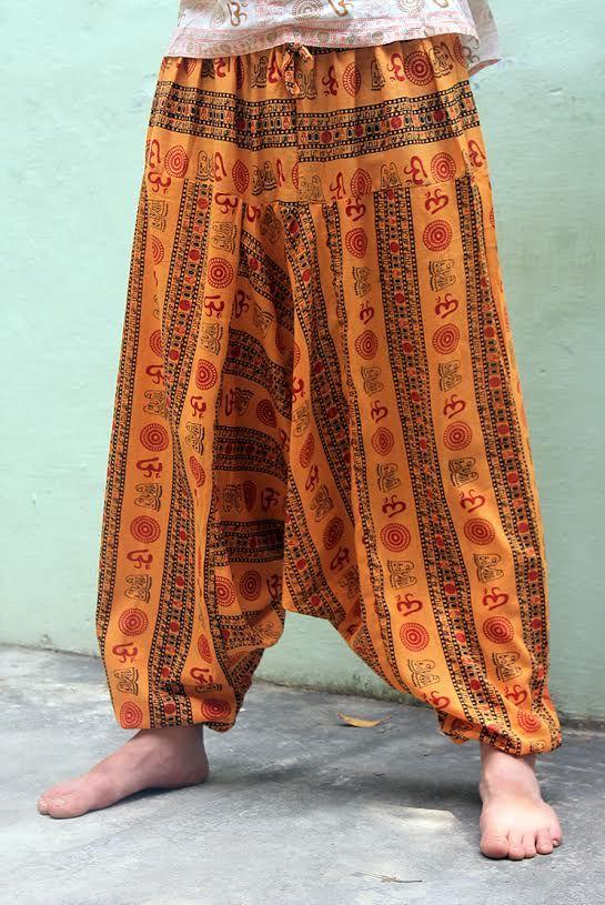 ГОЛУБЫЕ Мужские штаны афгани с символом ОМ (СПб)