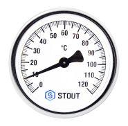 """Термометр биметаллический с погружной гильзой. Корпус Dn 80 мм, гильза 50 мм 1/2""""  STOUT   Арт. SIM-0001-805015"""