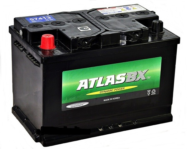 Автомобильный аккумулятор АКБ ATLAS (Атлас) 57413 74Ач п.п.