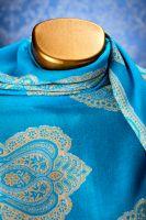 Индийский палантин их хлопка, голубой, с турецкими огурцами, Москва