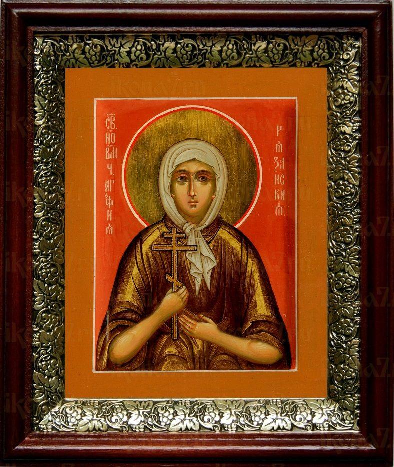 Агафья Рязанская (19х22), темный киот