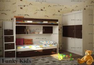Кровать двухъярусная Фанки Кидз-22 + СВ