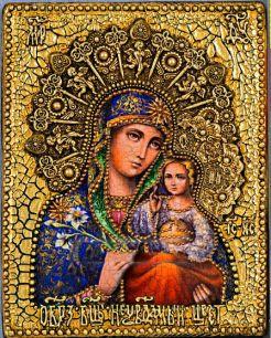 Икона Божьей Матери Неувядаемый цвет 19 х 23 см, роспись по дереву