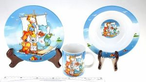 "``Набор посуды из 3-х предметов, керамика ""Звери на плоту"""