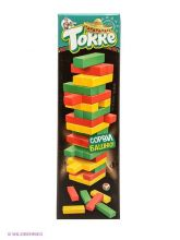 Настольная игра Башня (Дженга) цветная с кубиком