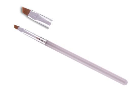 Кисть SLH для дизайна №2 скошенная (рыжий ворс) прозрачная ручка 4мм х 7мм