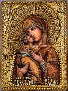 Икона Божьей Матери Владимирская 14 х 19 см, роспись по дереву
