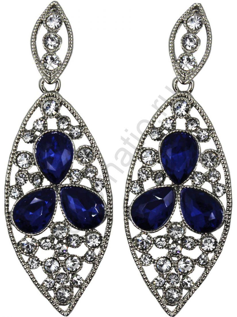 Серьги Taya LX. 11358-EARR-SL.D.BLUE