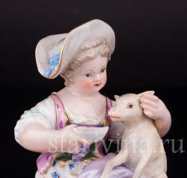 Девочка с ягненком, Meissen, Германия, 19 в., артикул 02741