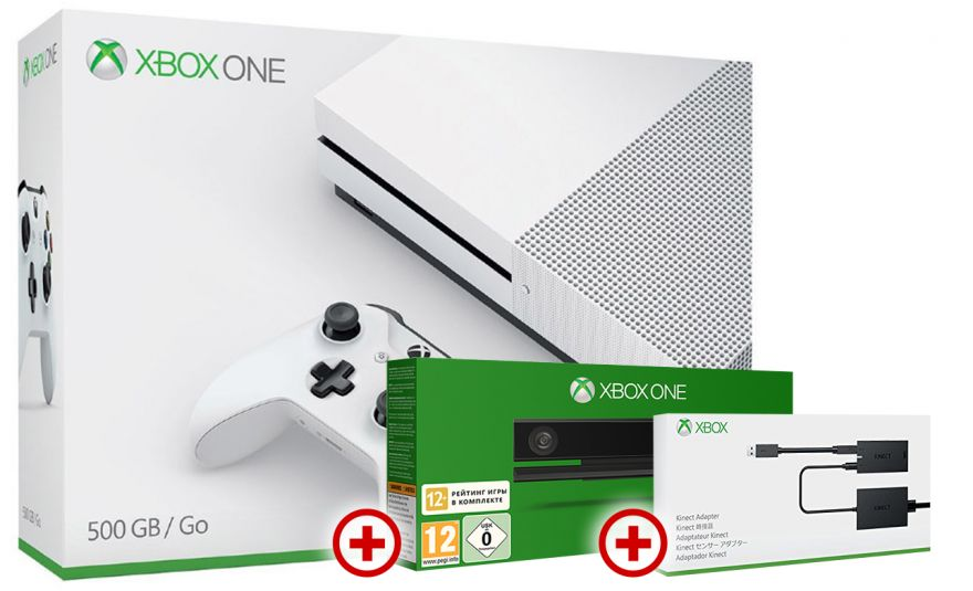 Microsoft Xbox One S 500GB + Kinect + Adapter Kinect