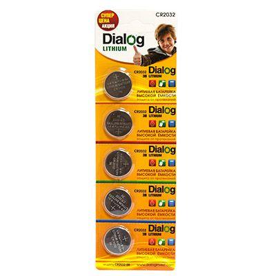 Батарейка литиевый элемент питания (диск) Dialog CR2032-5B