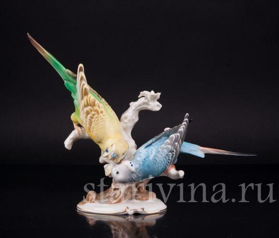 Антикварная старинная фарфоровая статуэтка птиц Два волнистых попугая производства Hutschenreuther, Германия