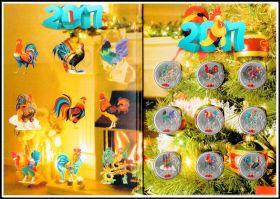 """Коллекционный набор 1 рубль с цветной эмалью """"Новогодний 2017. Год петуха."""" + альбом"""