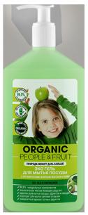 Гель-Эко для мытья посуды с органическим зеленым яблоком и киви 500 мл Organic People & Fruit