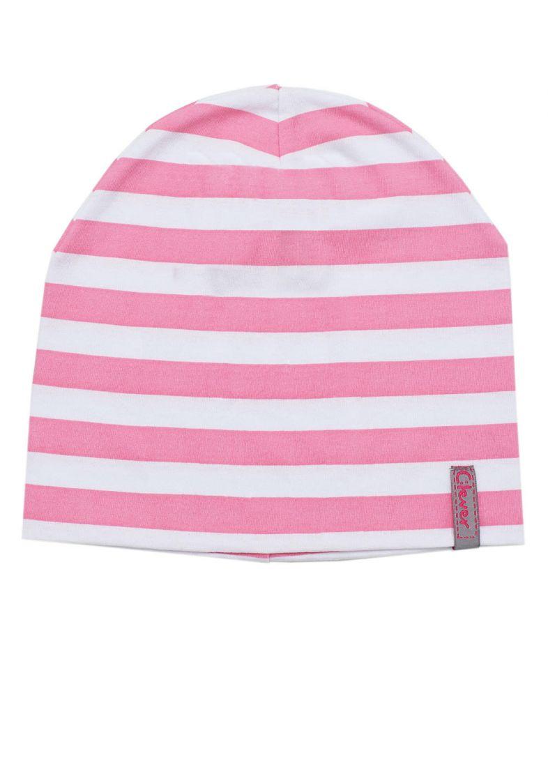 Шапка для девочки в бело-розовую полоску на размер 46-48