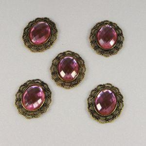 `Кабошон со стразой, овал, цвет основы - медь, стразы - светло-розовый, 29х24 мм
