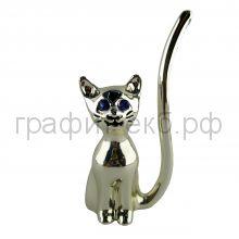 Статуэтка ItalSilver (Италия) Котик Подставка для колец серебро-гальванопластика9197