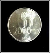 Аргентина 2000 песо 1977 Футбол, серебро