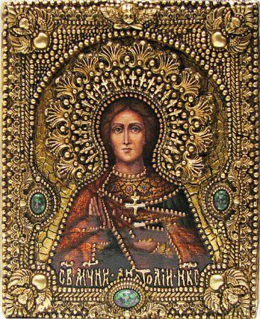 Икона именная Анатолий Никейский 19 х 23 см, роспись по дереву, позолота, самоцветы