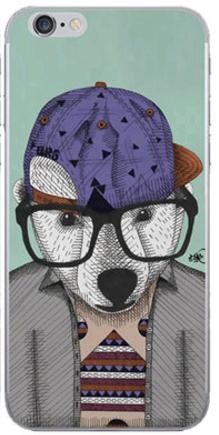 Силиконовый чехол для iPhone 5/5s/se (медведь в очках)