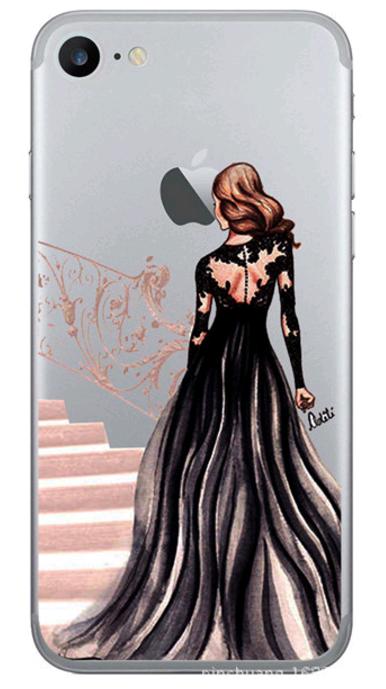Силиконовый чехол для iphone 5/5s/se с девушкой в черном платье